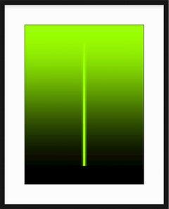 """Billie"" - minimal digital print, electric green, white mat"