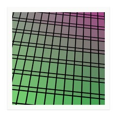 """Facade 84"" - single edition digital abstract print, green/purple, framed"