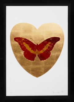 'I Love You' 24K Gold Leaf Heart, Red Butterfly, 2015