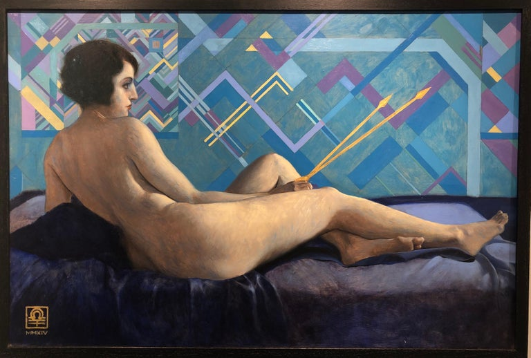 In Venus with Golden Arrows we see Chavez's fascination and facility with pattern and design. A classic 1920's era model poses as a modern day Venus, holding her arrows at the ready. Soft light falls across her naked body even as she modestly looks
