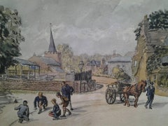 Boys playing Marbles in Feltham, Middlesex Wartime scene.