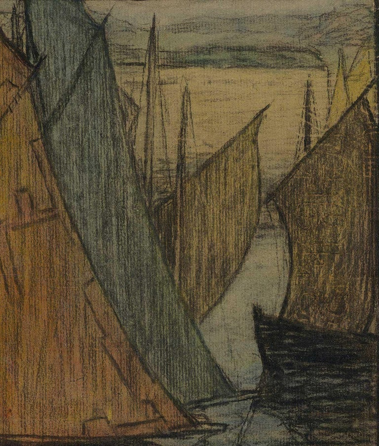 River Aglow (color charcoal and pastel on paper of sailboats on sea) - Art by Brunetta Herman Crawford
