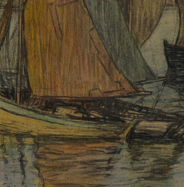 River Aglow (color charcoal and pastel on paper of sailboats on sea) - Modern Art by Brunetta Herman Crawford