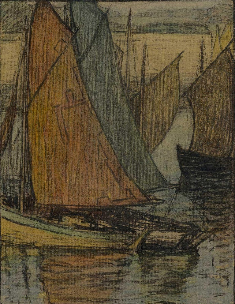 Brunetta Herman Crawford Landscape Art - River Aglow (color charcoal and pastel on paper of sailboats on sea)