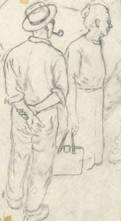 sketch of man with pipe and woman with purse
