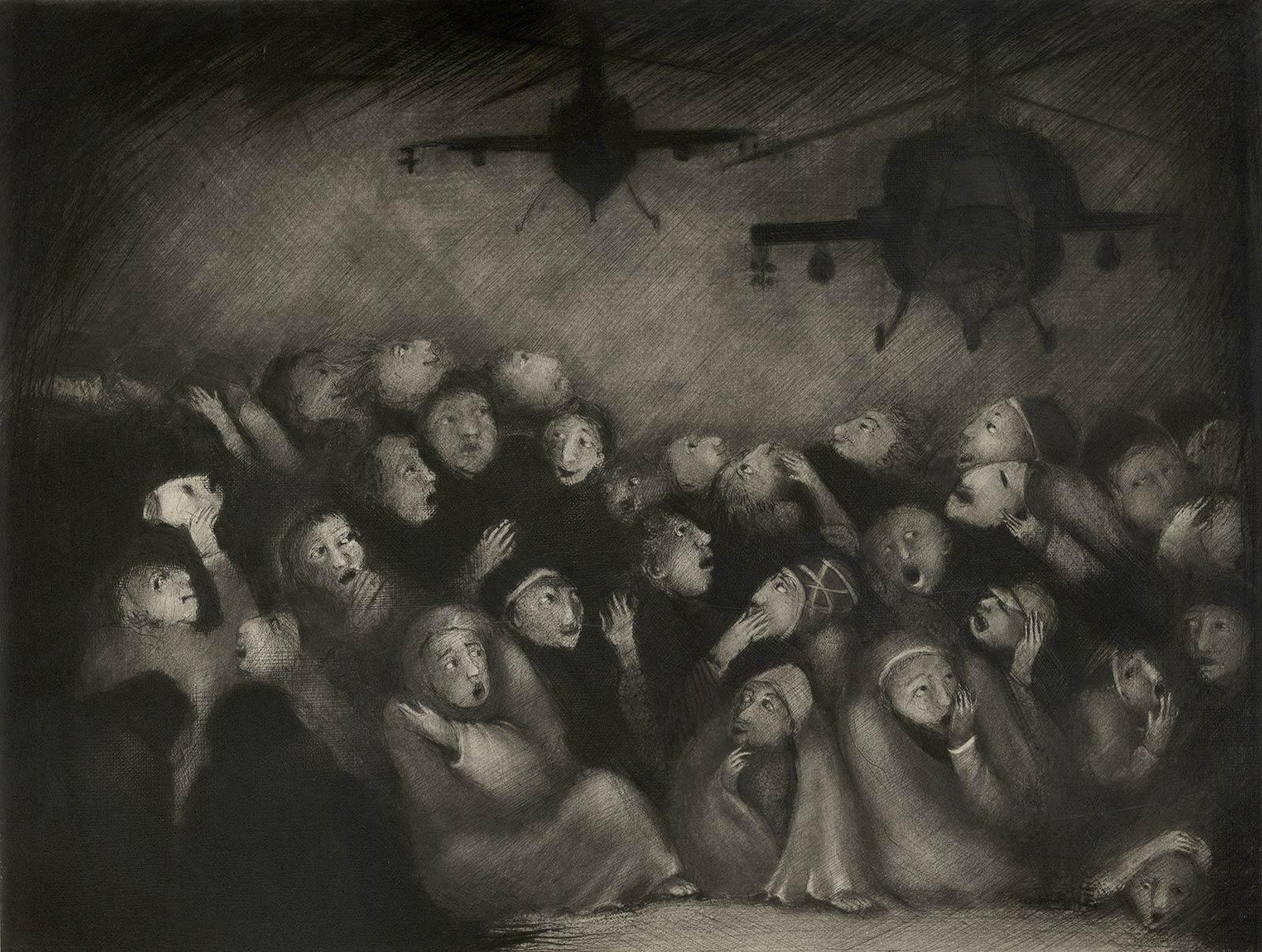 Lux Aeterna I (Eternal Light -The Requiem/ copters hover over fearful refugees)