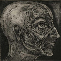 One of Twelve VI (etchings of one of 12 heads based on  monumental sculpture)