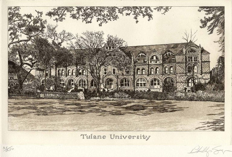 Tulane University (founded in 1834) - Beige Landscape Print by Philip Sage