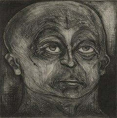 One of Twelve X (etchings of one of 12 heads based on  monumental sculpture)