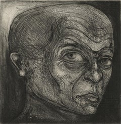 One of Twelve XI (etchings of one of 12 heads based on  monumental sculpture)