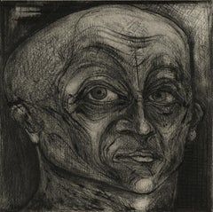 One of Twelve XII (etchings of one of 12 heads based on  monumental sculpture)