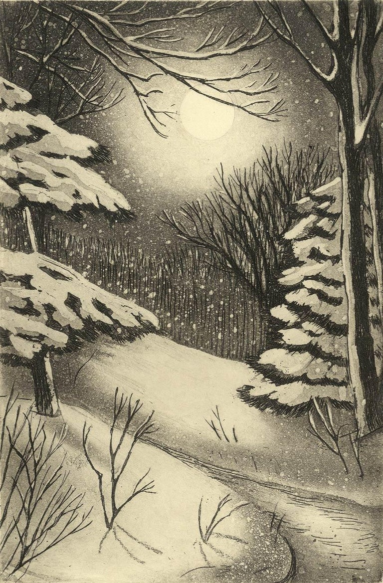 This image is from an exclusive edition published by Stone + Press in 1994 in an edition of 100.  It brings to mind the Robert Frost poem, Stopping by Woods on a Snowy Evening. The woods are lovely, dark and deep,    But I have promises to keep,