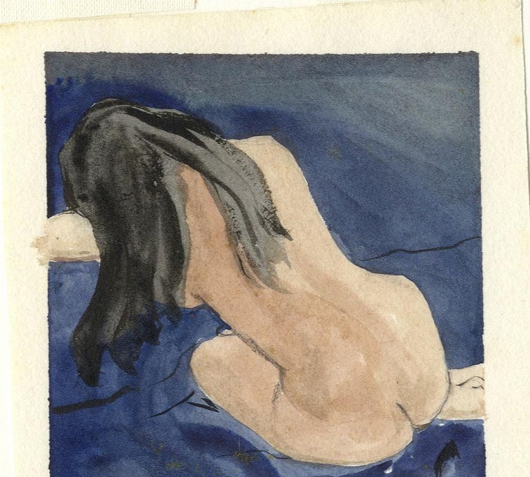 Nude Woman (Long black hair contrasts with the light skin tone of seated nude) - Art by Glenora Richards