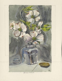 White Flowers in Clear Jar