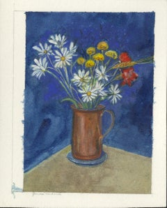 Daisies with Red and Yellow Flowers in Copper Pitcher