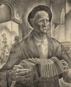Blind Beggar (pencil drawing made on streets of Kansas City in Depression)