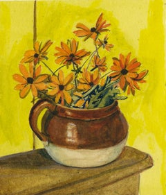 Yellow Daisies in a Tan and Brown Jug