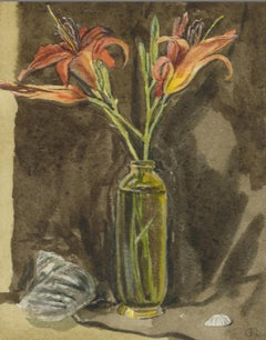 Orange Flowers in Glass Vase against Beige