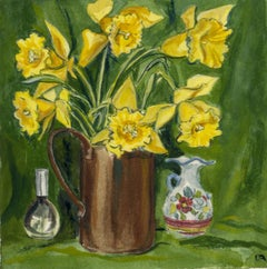Yellow Flowers in Bronze Jug, two other vessels against green