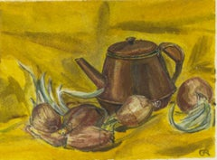 Brown teapot surrounded by red onions on Yellow background