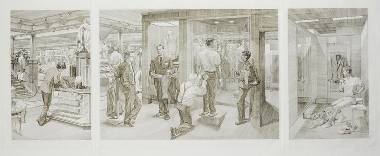 Andrew Raftery Figurative Print - Suit Shopping: An Engraved Narrative (scene 3,4 and 5 of a sacred male ritual)