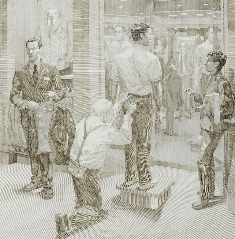 Suit Shopping: An Engraved Narrative (scene 3,4 and 5 of a sacred male ritual) - American Modern Print by Andrew Raftery