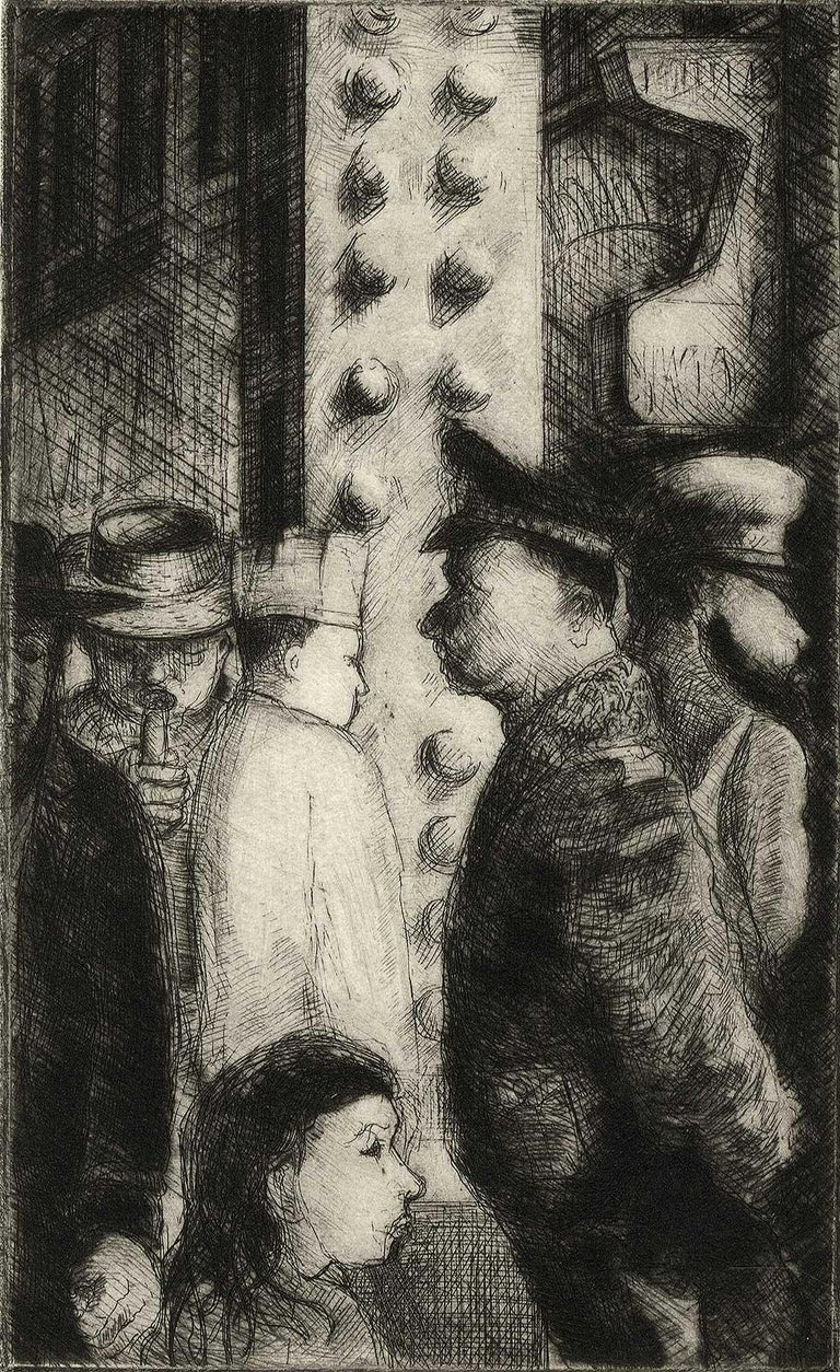 Richard Gilbert Figurative Print - The Loop I (the artist's memories of days at Chicago's Art Institute)