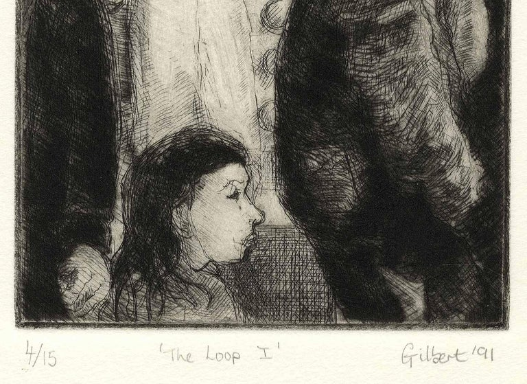 The Loop I (the artist's memories of days at Chicago's Art Institute) - Modern Print by Richard Gilbert
