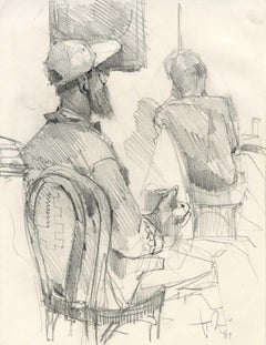 Seated Man with Cap (coffee shop)