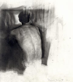 From the Back ( A sensual, atmospheric pencil drawing of a seated male nude)