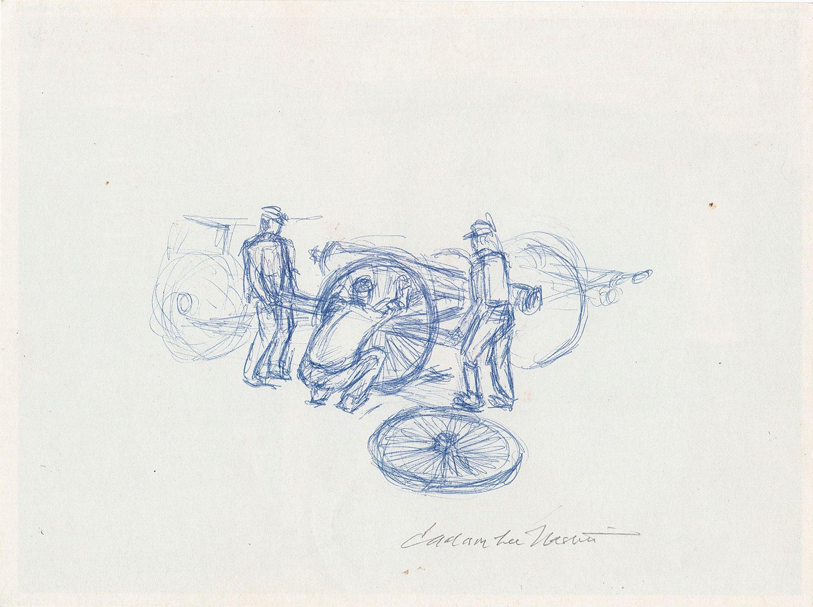 Three Men Changing a Wheel