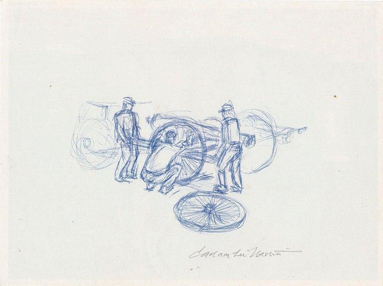 Jackson Lee Nesbitt Interior Art - Three Men Changing a Wheel