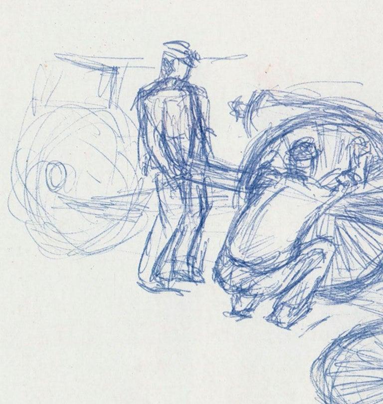 Three Men Changing a Wheel - American Modern Art by Jackson Lee Nesbitt