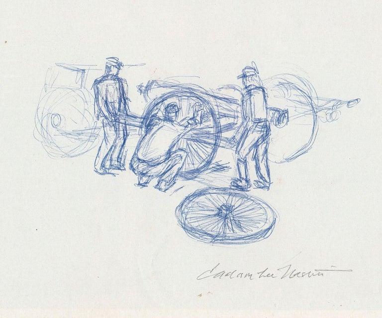 Three Men Changing a Wheel - Art by Jackson Lee Nesbitt