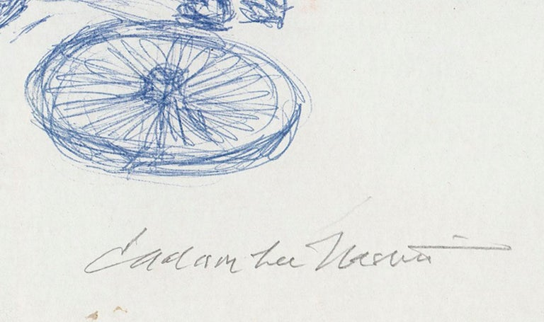 This very early original drawing in blue ink is signed bt Jackson Lee Nesbitt. Jack was a student of Thomas Hart Benton at the Kansas City Art Institute during this period.  The drawing shows three men working to replace a wheel on a piece of