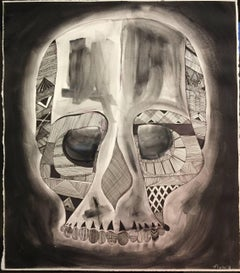 Blanch - original work on paper of a skull by Matthew Floriani