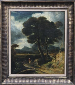 Rider in a Landscape - British Old Master landscape oil painting ex Christies