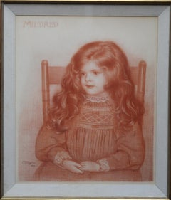 Portrait of Mildred - British Victorian art Pre-Raphaelite girl sanguine drawing