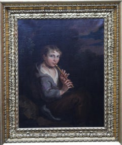Portrait of Boy Playing a Flute - 18th/19th century art Old Master oil painting