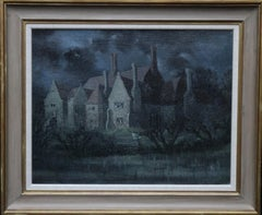 The Dark House - British 30's art architectural landscape oil painting manor