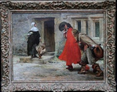 Flirtation - British art Edwardian portrait oil painting rival cavaliers maid