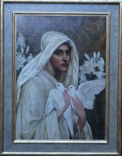 Peace - Pre-Raphaelite art 19th century portrait oil painting woman doves lilies
