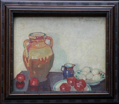 Still Life on a Table - British Edwardian Post Impressionist art oil painting