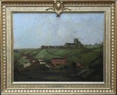 Cheedleton Church and Flint Mill - British 19thC art landscape oil painting