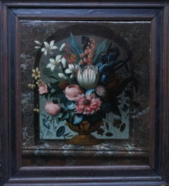 Mixed Floral in Marble Niche - Dutch 18thC Old Master art flowers oil painting