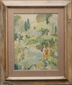 The Bathers - British Art Deco exhibited figurative landscape watercolour silk