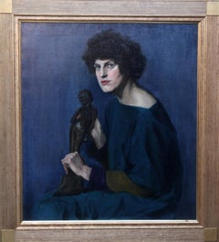 Self Portrait with Bronze Statue - Scottish Art Deco female oil portrait