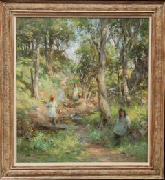 Bonfire in Bluebell Wood - Edwardian Scottish Impressionist art oil landscape