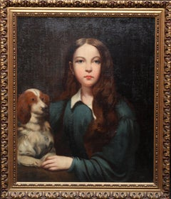 Portrait of a Young Woman with a Dog - British School 18thC art oil painting