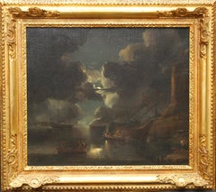 Coastal maritime Nocturne - Dutch Golden Age art 17thC marine oil painting